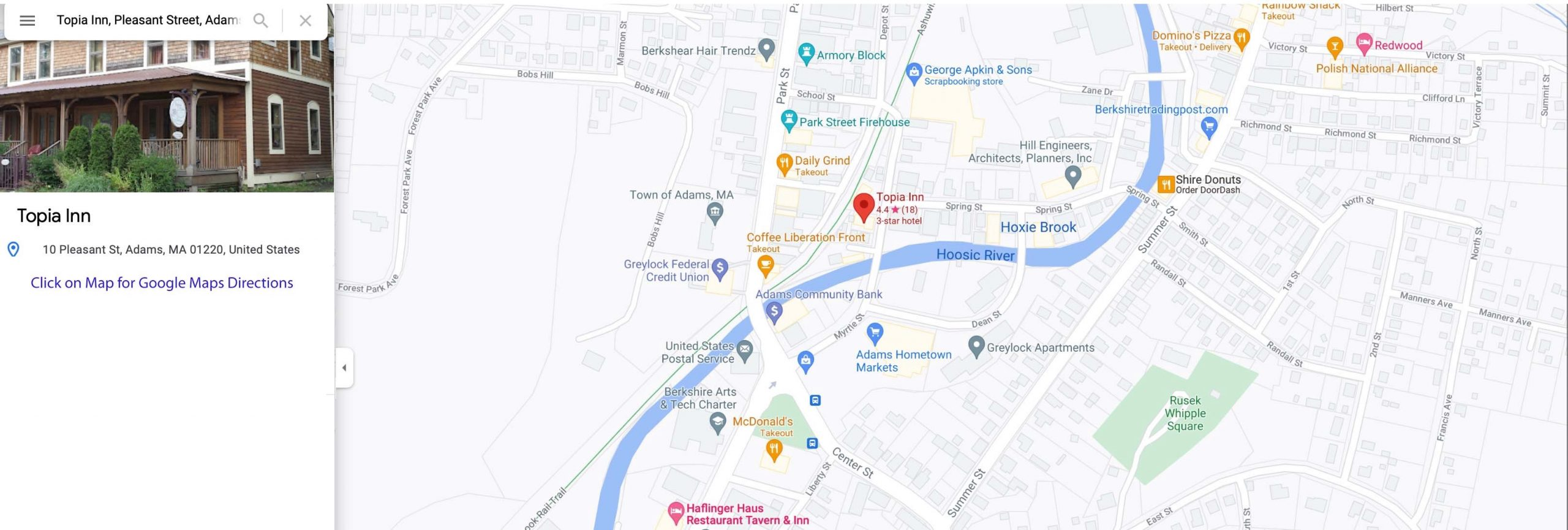 Image of the Topia Inn Google Map